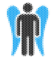 Halftone dot angel icon vector