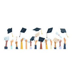 Hands hold and throw hats and diplomas graduates vector