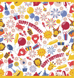 happy birthday badges seamless pattern vector image
