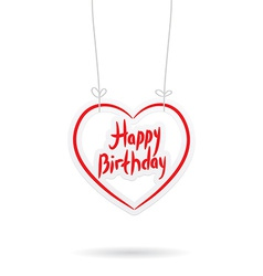 Happy birthday red paper heart on White background vector image