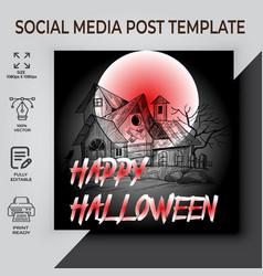 Happy halloween social media post design vector