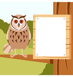Happy Owl on the Tree flat background vector image