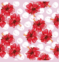 Hibiscus seamless pattern pink background vector