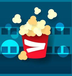 hot popcorn in a glass cinema film vector image