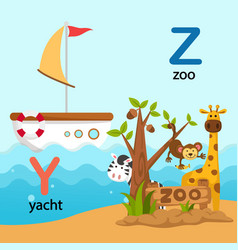 Isolated alphabet letter y-yacht z-zoo vector