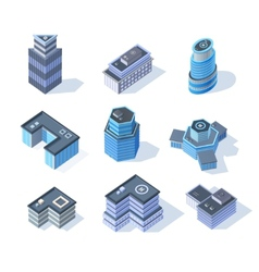 Isometric business city center buildings set vector