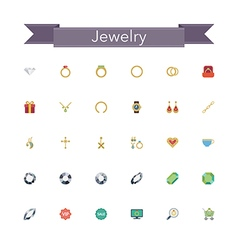 Jewelry Flat Icons vector