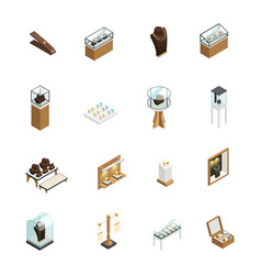 Jewelry shop isometric elements vector