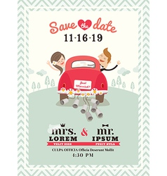 Just married car wedding invitation vector image vector image