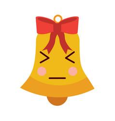 kawaii christmas jingle bell bow cartoon vector image