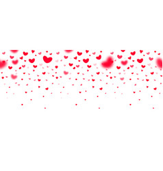 Lovely red falling hearts in focus and in defocus vector