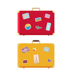luggage traveling bags with stickers set vector image