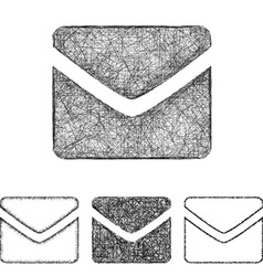 Mail icon set - sketch line art vector