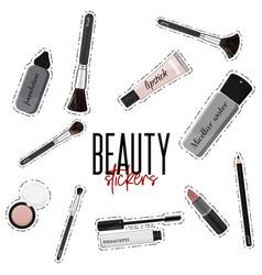 make-up essentials mascara lipgloss vector image