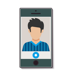 mobile phone with video call vector image