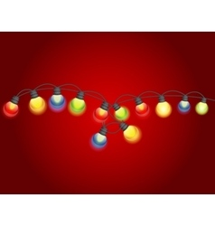 Multicolored Garland Lamp Bulbs Festive vector image