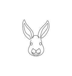 one continuous line drawing adorable rabbit vector image