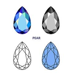 Pear gem cut vector