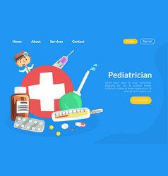 pediatrician landing page template medical care vector image