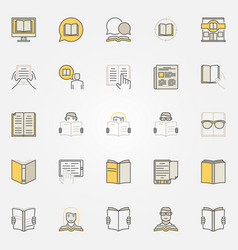 Reading colorful icons set vector