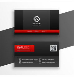 red and black dark business card template design vector image