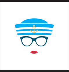 sailor girl in blue striped hat vector image