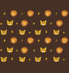seamless pattern with tigers and lions vector image