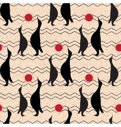 Seamless vintage pattern with penguin vector