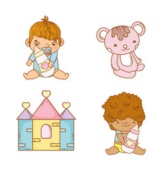 set babies bays with feeding bottles and teddy vector image
