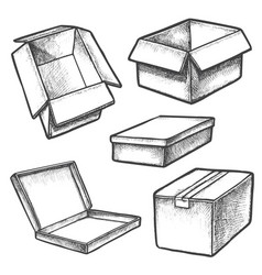 set box sketches or cargo containers package vector image