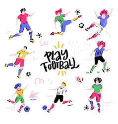 set football players with lettering vector image