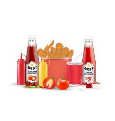 Set fried chicken tomato chilli suace bottle vector