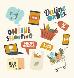 set icons online shopping theme laptop with vector image