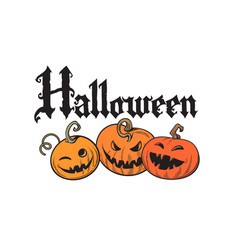 set of cartoon halloween pumpkins gothic vector image