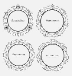 Set of decorative round frames vintage style vector