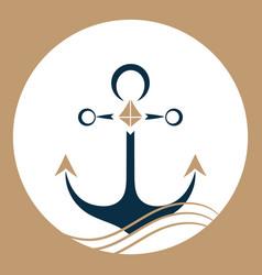 ship anchor on the waves nautical logo vector image