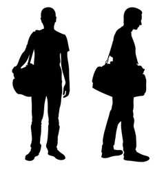 silhouettes of men with luggage vector image