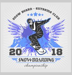 snowboarding emblem man on light vector image