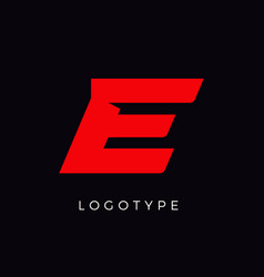 Speed letter e red race monogram logo italic vector