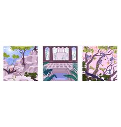 square tropical landscapes set vector image