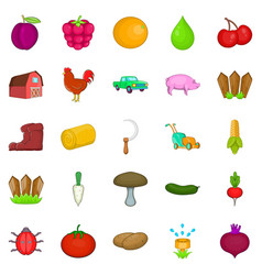 Stockyard icons set cartoon style vector
