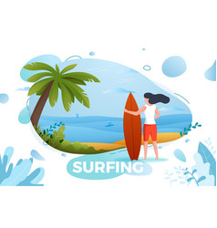 surfing girl on a beach vector image