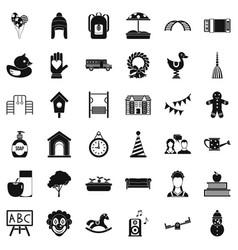 Teddy bear icons set simple style vector