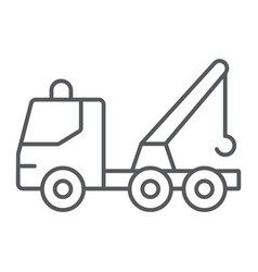 tow truck thin line icon transport and service vector image