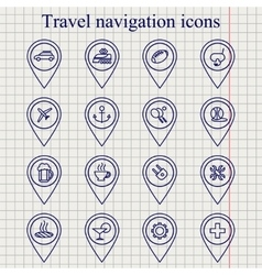 Travel navigation ink icons set vector
