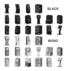 variety of terminals black icons in set collection vector image