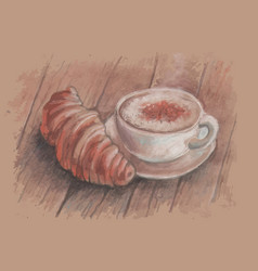 vintage image a cup coffee and a vector image