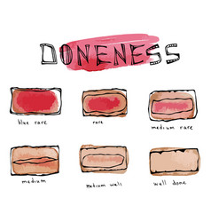 Watercolour slices of beef steak meat doneness vector