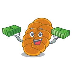 With money bag challah mascot cartoon style vector
