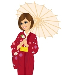 Woman holding a japanese parasol vector